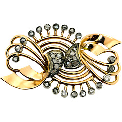 19th Century Vintage 14k Solid Rose And White Gold Old Mine Cut Diamonds Brooch