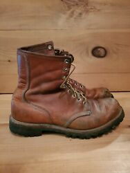 Vintage 70s Red Wing Irish Setter Moc Toe Lug Patina Boots Sz 9.5 D Made In Usa