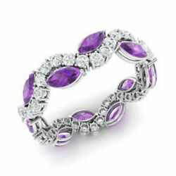 Solid 950 Platinum Diamond Bands 3.40 Ct Real Amethyst Gemstone Band Size 7 8 9