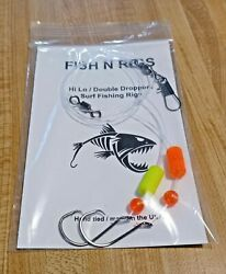 12 Hi-lo Fishing Rigs 2/0 Hook Pompano Whiting Flounder Drum 20lb Fluorocarbon
