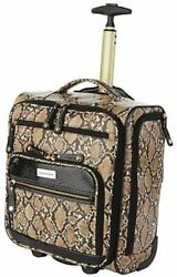 Samantha Brown Embossed Rolling Carry-it-all Bag Snake Print Tan Black Nwt New
