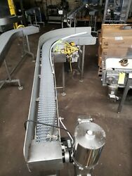 Stainless Steel 6 X 8and039+3and039 90 Deg. Washdown Conveyor With Plastic Belt 120v
