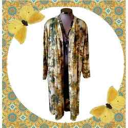 Foiled ☆ Tye-dye Style Olive And Gold Duster Coat 4x