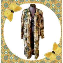 Foiled ☆ Tye-dye Style Olive And Gold Duster Coat 5x
