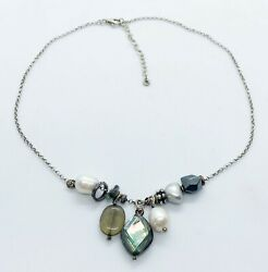 Silpada Sterling Silver Brass Hematite Pearl Abalone Shell Necklace N2202
