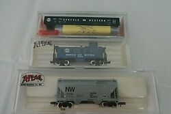 Atlas Acf 2-bay Centerflow, Caboose Nw And Roundhouse Kit 50' Gondola Nandw, N Scale