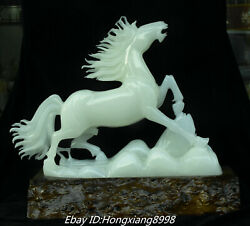 18andrdquo Rare Natural White Jade Carved 12 Zodiac Horse Horses Steed Animal Statue