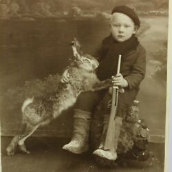 Vintage Real Picture 1930and039s Young Boy With Gun Hare Rabbit Photography Hunting