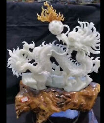 15 Unique Natural Jade Fengshui Dragon Loong Play Beads Ball Animal Statue