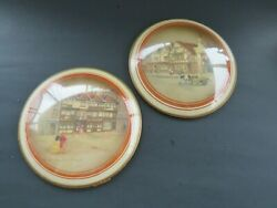 2 Vintage Peter Watsons Convex Glass Clyde Cole English Village Scene Pictures