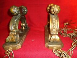 2 Vtg Medieval/castle Style Wooden Distressed Electric Wall Sconces W Chain