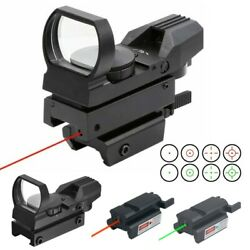 Tactical Red Green Dot Reflex Sight Scope W/ Red /green Laser Holographic Sight