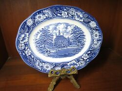 Liberty Blue 12 By 9 1/2 Platter Governors' House Williamsburg Pattern