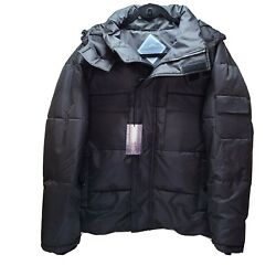 Nwt Size Large Mens Fashion Power Fill Down Black Coat With Hood Jacket New 599