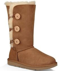 New Ugg Big Kids Us Size 5 Fits Womens 6.5/7 Bailey Button Triplet Ii Chestnut