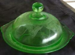 Antique Pressed Glass Covered Round Butter Dish – Georgian – Beautiful Color