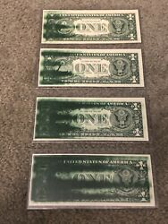 4 Sequential Consecutive 1 Bill Currency Error Ink Smears Federal Reserve Note