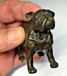 HEAVY 3quot; BRONZE BULLDOG SCULPTURE FIGURINE WITH UNKNOWN MARKINGS