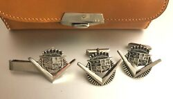 1940's Cadillac Car Cuff-links And Tie Clasp Pin Sterling Silver W/ Leather Case