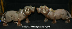 11.8old China Han Dynasty Natural Hetian Jade Animal Cattle Bull Ox Statue Pair