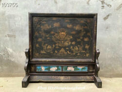 33.8 Antique Old Chinese Wood Lacquerware Gilt Dynasty Dragon Screen Statue