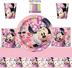 Minnie Mouse Party Supplies Pack Serves 16 9' Plates Luncheon Napkins Cups And