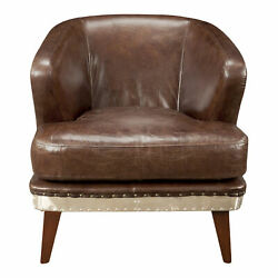Moe's Home Preston Club Chair With Cappuccino Brown Leather Pk-1017-20
