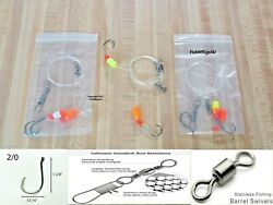 12 Hi-lo Fishing Rigs 2/0 Hook Pompano Whiting Flounder Drum 30lb Fluorocarbon