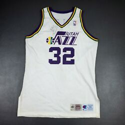 100 Authentic Karl Malone Champion 95 96 Jazz Autographed Game Jersey