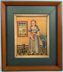 New Hope Artist Jean Halter 1916-1981 Signed Oil Painting Young Girl W/ Doll