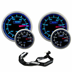 Prosport 52mm Universal Electric Blue/white Gauge Kit Oil And Fuel Pressure