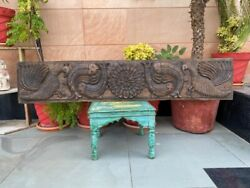 1700and039s Ancient Old 54 X 10and039and039 Wooden Hand Carved Fish Peacock Figure Wall Panel