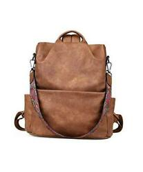 Womens Leather Backpack Purse Convertible Shoulder Bags Brown Vintage Style $53.06