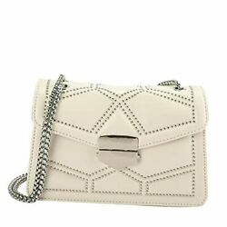 Rivets Chain Small Shoulder Crossbody Messenger Bags for Women Purse and Beige $31.48