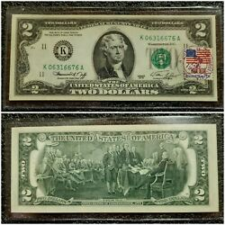 1976 2.00 Us Currency Note Postmarked First Day Issue 4/13/1976 Houston Texas