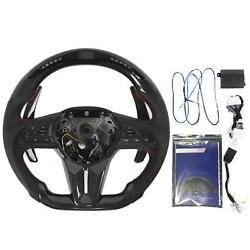 Carbon Fiber Perforated Nappa Led Car Steering Wheel Fit For Gt Fitting