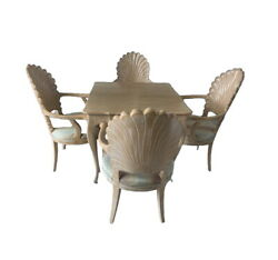 Venetian Shell Scalloped Back Grotto Carved Wood Italian Dining Chairs And Table