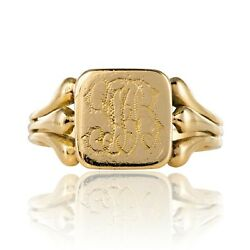 Signet Ring Antique Gold Engraved Yellow Gold Belle époque Jewelry Antiques