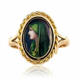 Ring Antique Enamel Limoges Yellow Gold Vintage Jewelry Antiques