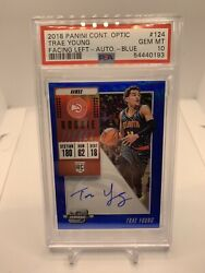 2018 Trae Young Optic Contenders On Card Auto Psa 10 Blue /49 Rookie Rc 124