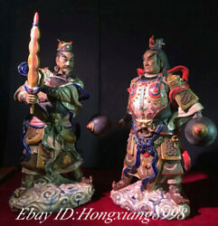 20 Antique Old China Wucai Porcelain Heavenly God Kings Immortals Statue Pair