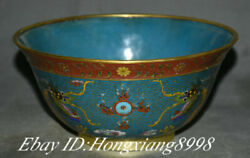 7.8 Old China Cloisonne Enamel Copper Dynasty Palace Double Dragon Bowl Bowls