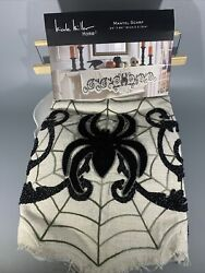 """Nicole Miller Spider Beaded Mantel Scarf 24""""x 84 Black And White"""