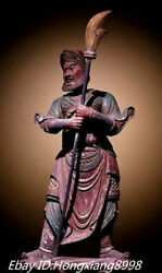 34and039and039 Old Phoebe Wood Three Kingdoms Period General Zhou Cang Warrior Statue