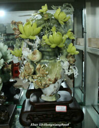 22 China Natural Xiu Green Jade Carving Orchid Flower Bird Bottle Vase Statue