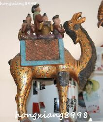 Large China Porcelain Painting Carved People Kids Play Camel Llama Animal Statue