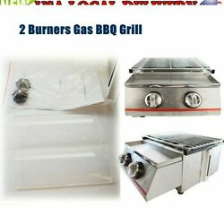 2 Burners Grill Gas Bbq Barbecue Camping Steel Shield Barbeque Cooker Portable