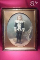 1820s Antique Large Colored Tinted Photo Of A Child In Frame