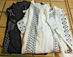 2x Ladies Daisy Fuentes Long Sleeve V-neck Tassel Tie Blouses Tops Black And White