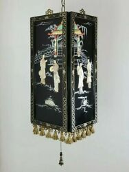 Repurposed Mother Of Pearl Brass Chinese Panels Swag Lamp Hanging Light Fixture